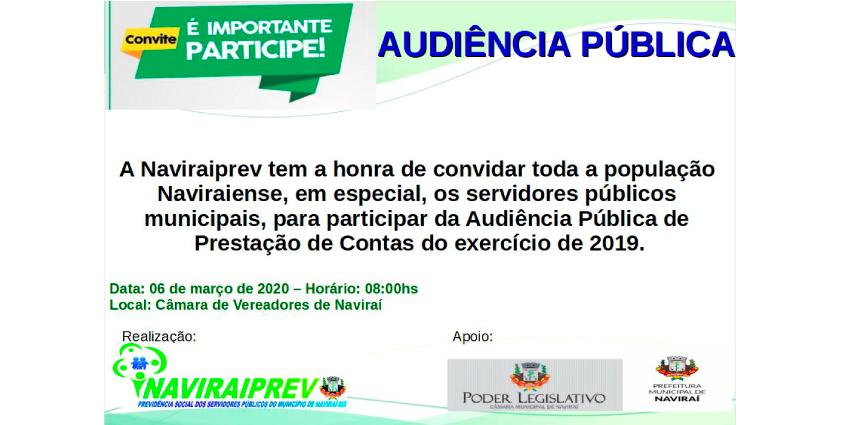 Audiência Pública de Prestação de Contas do exercício de 2019